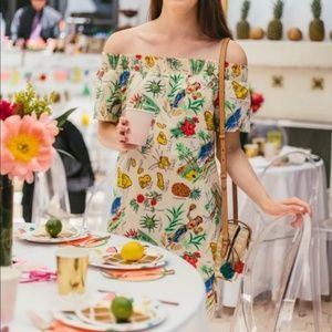 J Crew Hawaiian Printed off the shoulder dress